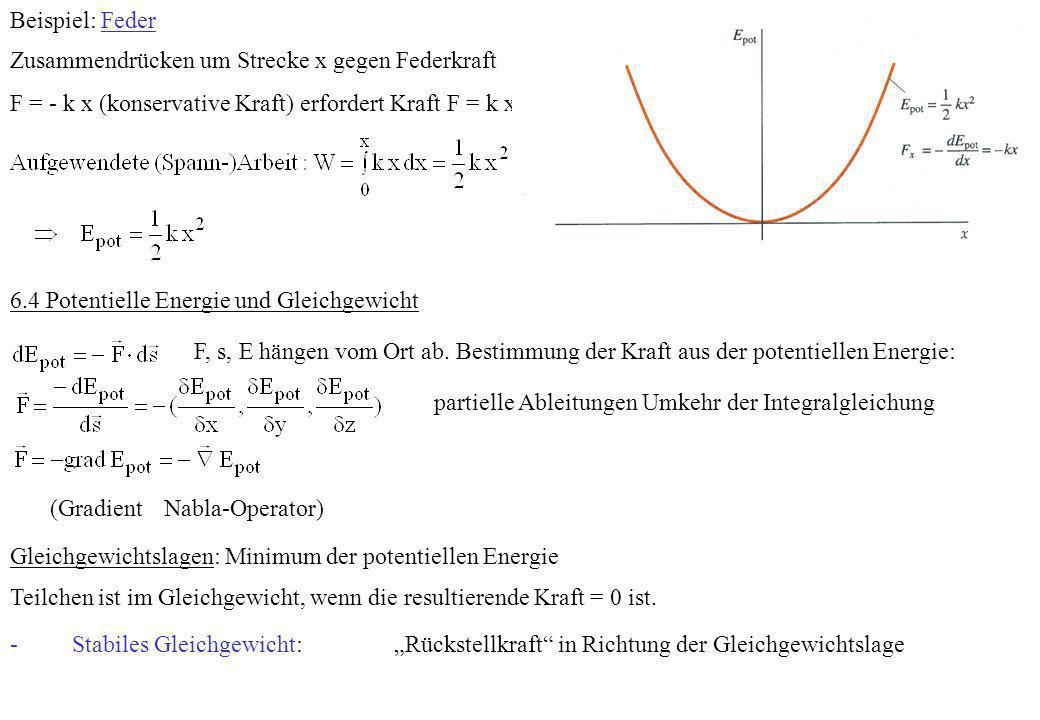 Beispiel: Feder Zusammendrücken um Strecke x gegen Federkraft. F = - k x (konservative Kraft) erfordert Kraft F = k x.