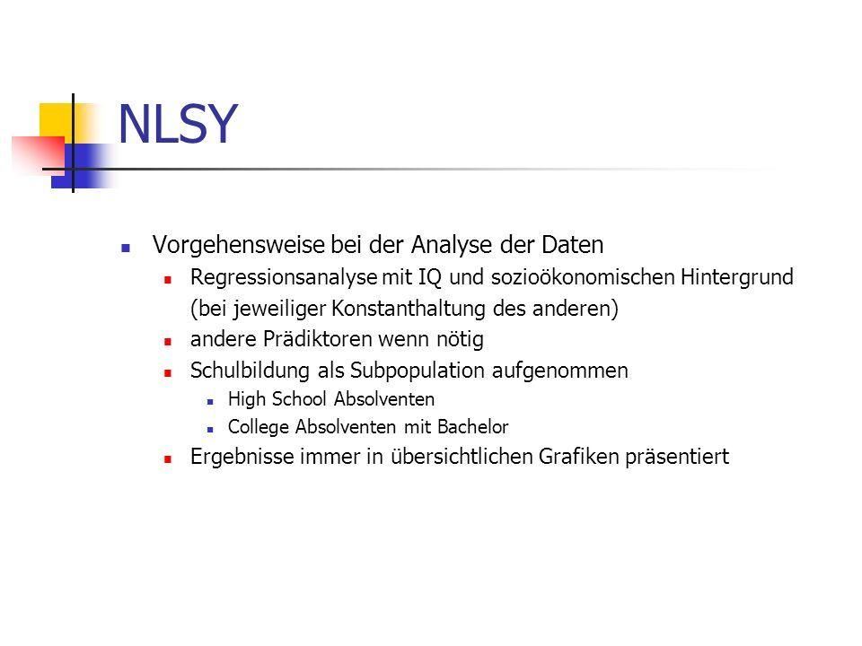 NLSY Vorgehensweise bei der Analyse der Daten