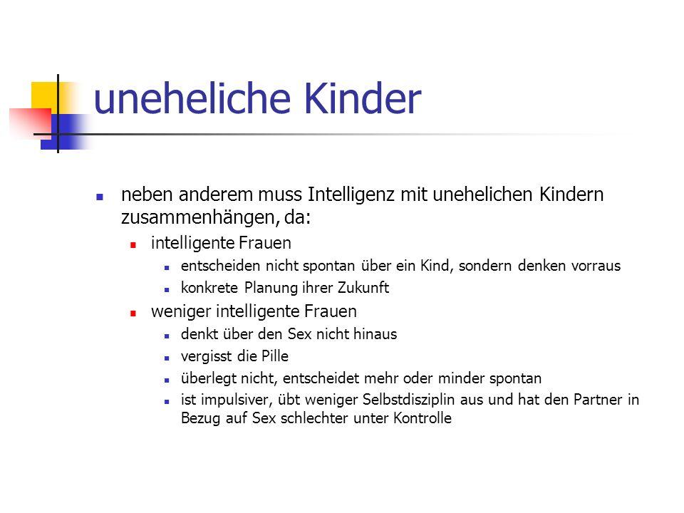 uneheliche Kinder neben anderem muss Intelligenz mit unehelichen Kindern zusammenhängen, da: intelligente Frauen.