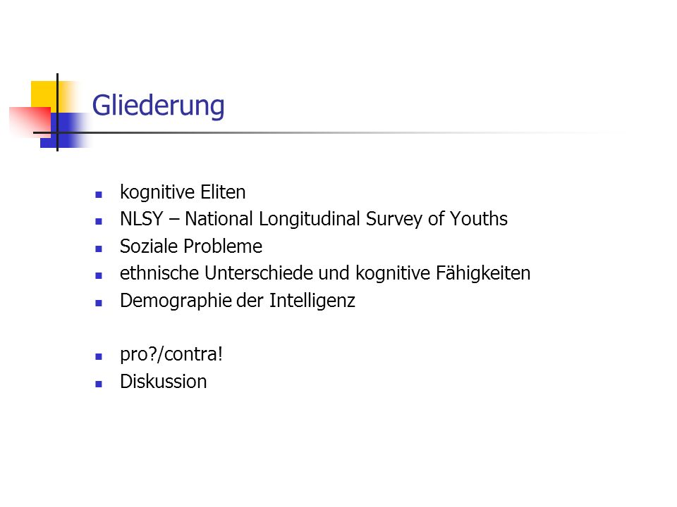 Gliederung kognitive Eliten