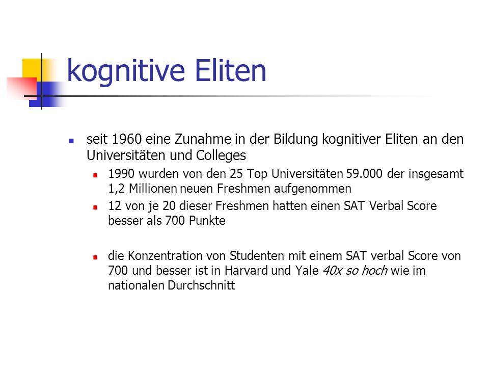 kognitive Eliten seit 1960 eine Zunahme in der Bildung kognitiver Eliten an den Universitäten und Colleges.