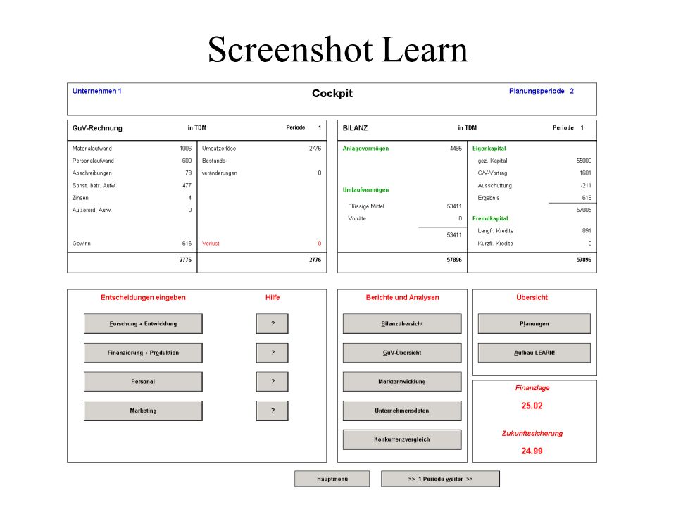Screenshot Learn