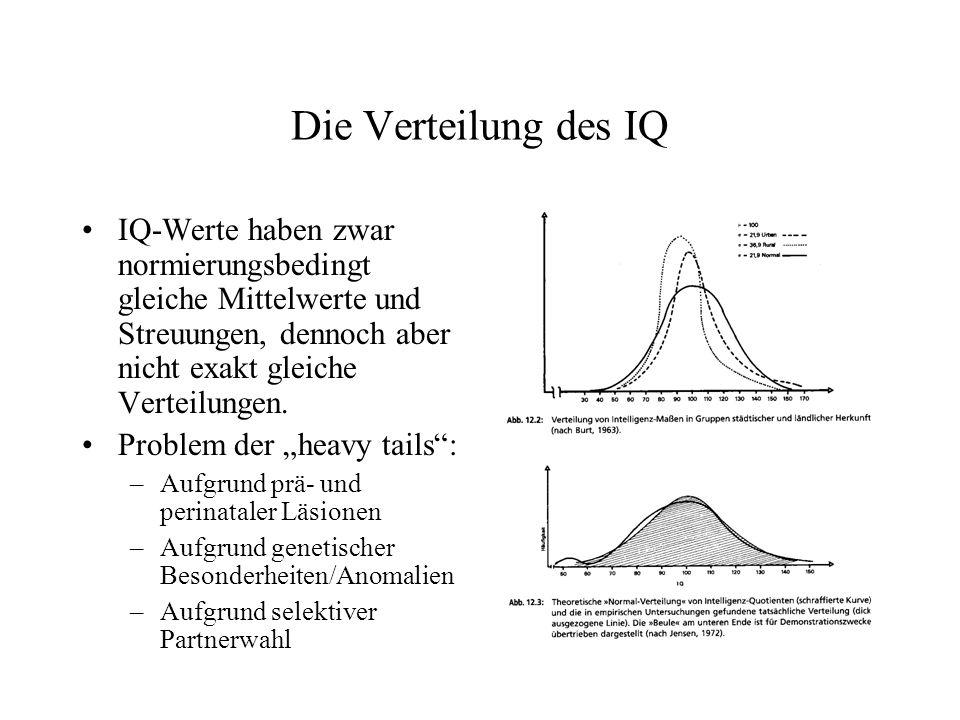 Die Verteilung des IQ IQ-Werte haben zwar normierungsbedingt gleiche Mittelwerte und Streuungen, dennoch aber nicht exakt gleiche Verteilungen.