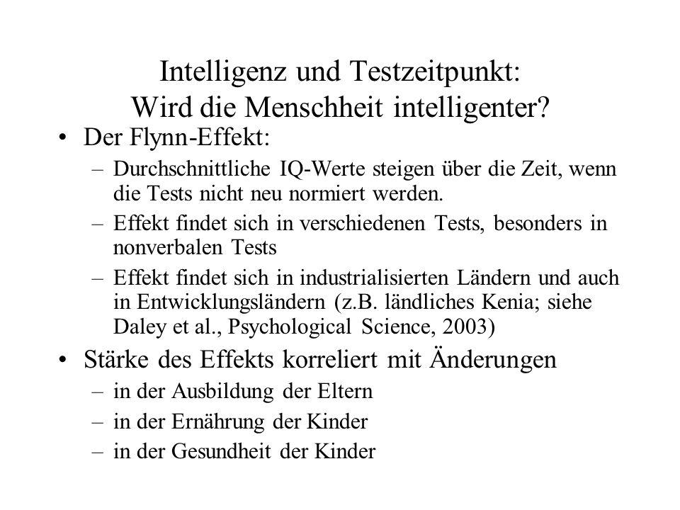 Intelligenz und Testzeitpunkt: Wird die Menschheit intelligenter