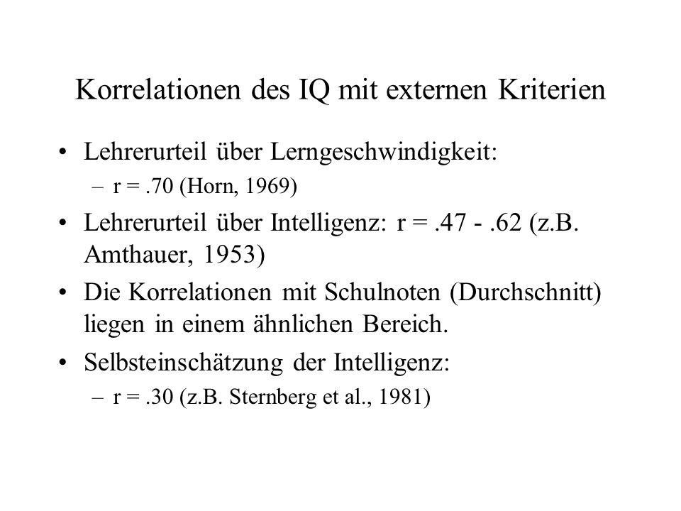 Korrelationen des IQ mit externen Kriterien