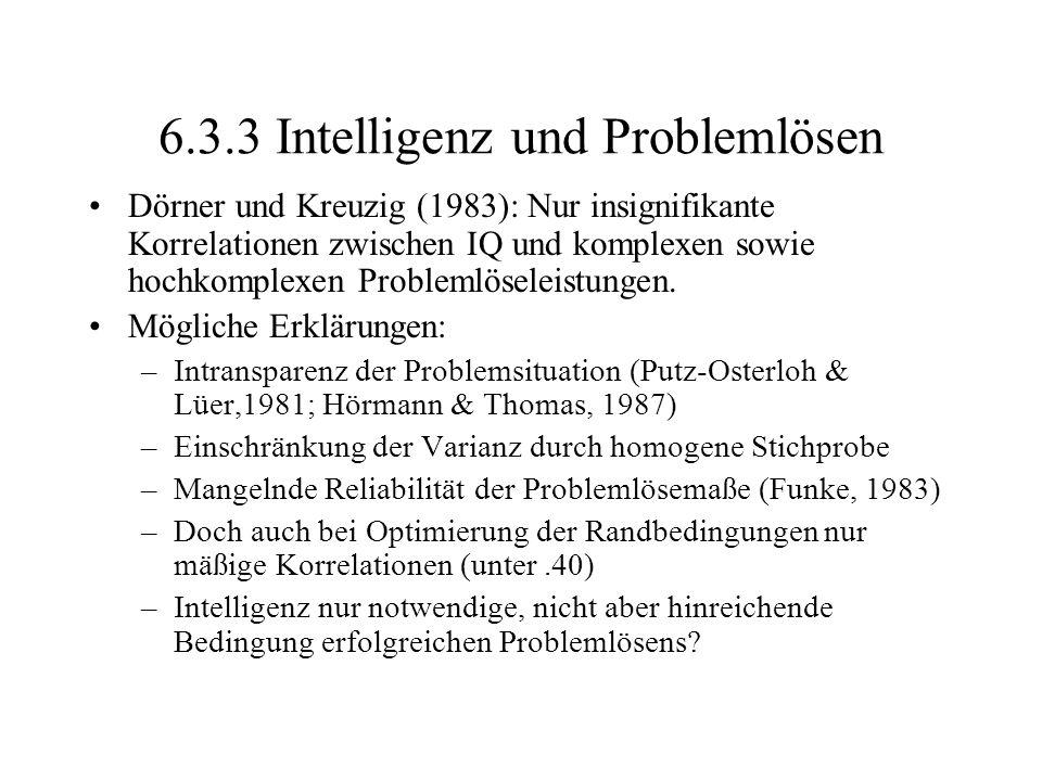 6.3.3 Intelligenz und Problemlösen
