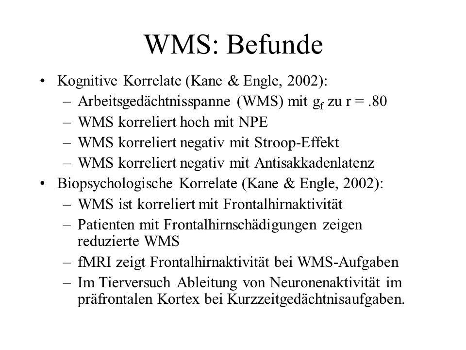 WMS: Befunde Kognitive Korrelate (Kane & Engle, 2002):