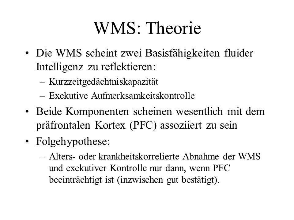 WMS: Theorie Die WMS scheint zwei Basisfähigkeiten fluider Intelligenz zu reflektieren: Kurzzeitgedächtniskapazität.