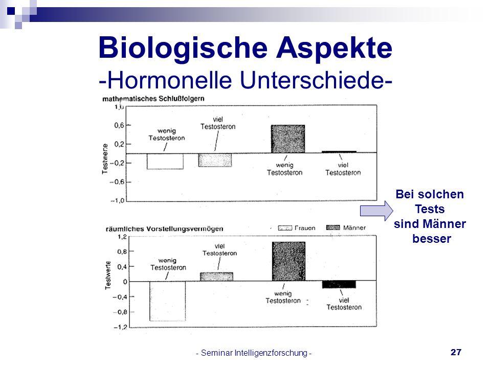 Biologische Aspekte -Hormonelle Unterschiede-