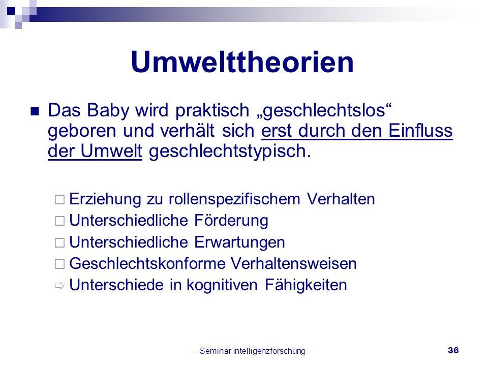 - Seminar Intelligenzforschung -