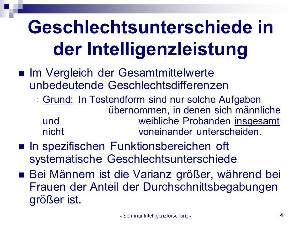 Geschlechtsunterschiede in der Intelligenzleistung