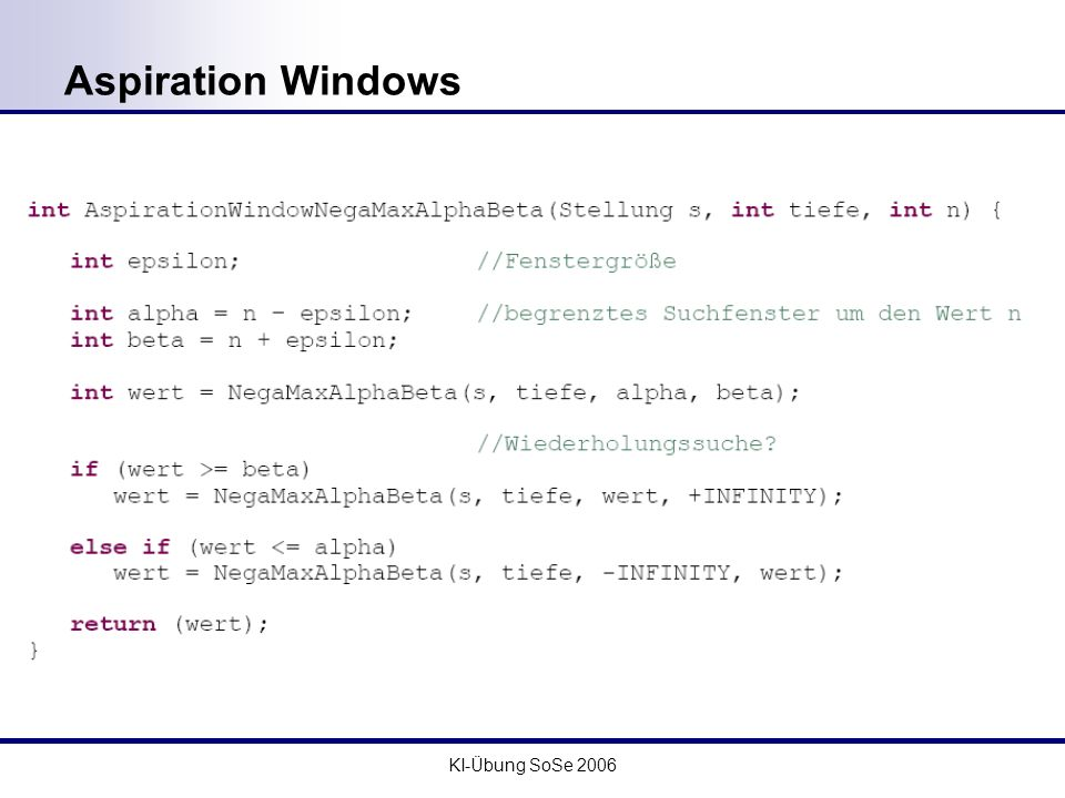Aspiration Windows KI-Übung SoSe 2006