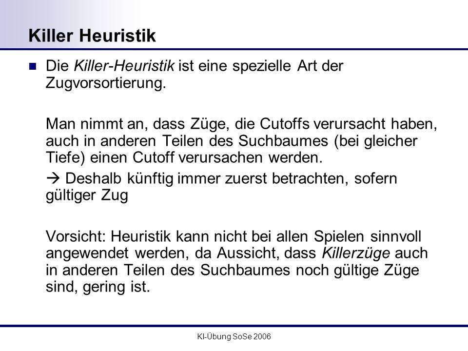 Killer Heuristik Die Killer-Heuristik ist eine spezielle Art der Zugvorsortierung.