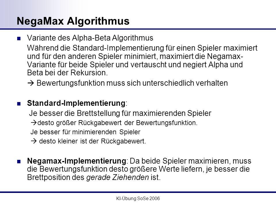 NegaMax Algorithmus Variante des Alpha-Beta Algorithmus