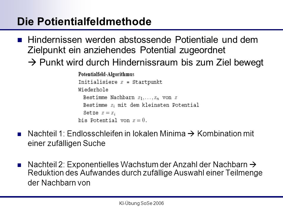 Die Potientialfeldmethode