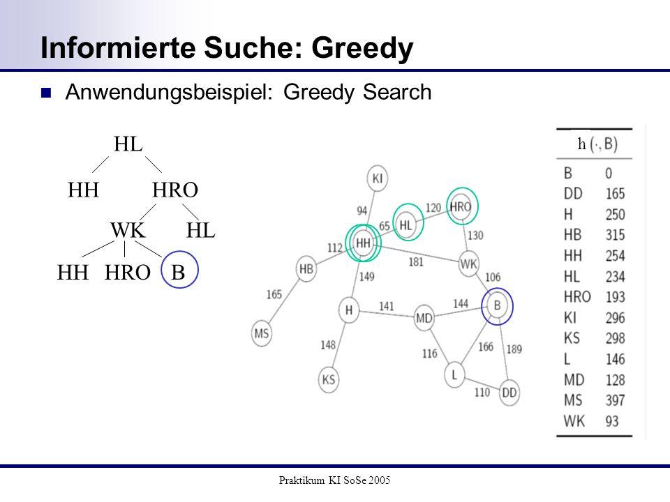 Informierte Suche: Greedy