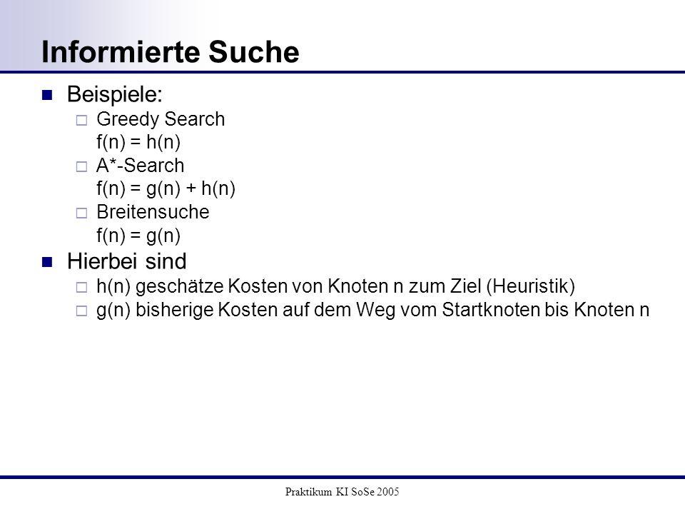 Informierte Suche Beispiele: Hierbei sind Greedy Search f(n) = h(n)