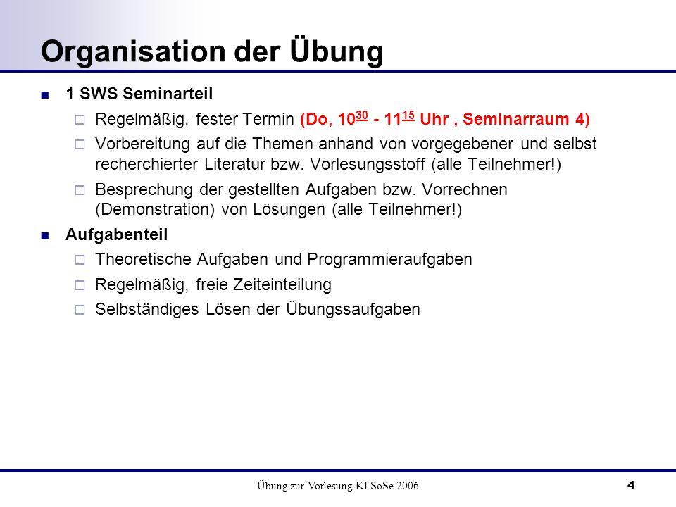 Organisation der Übung