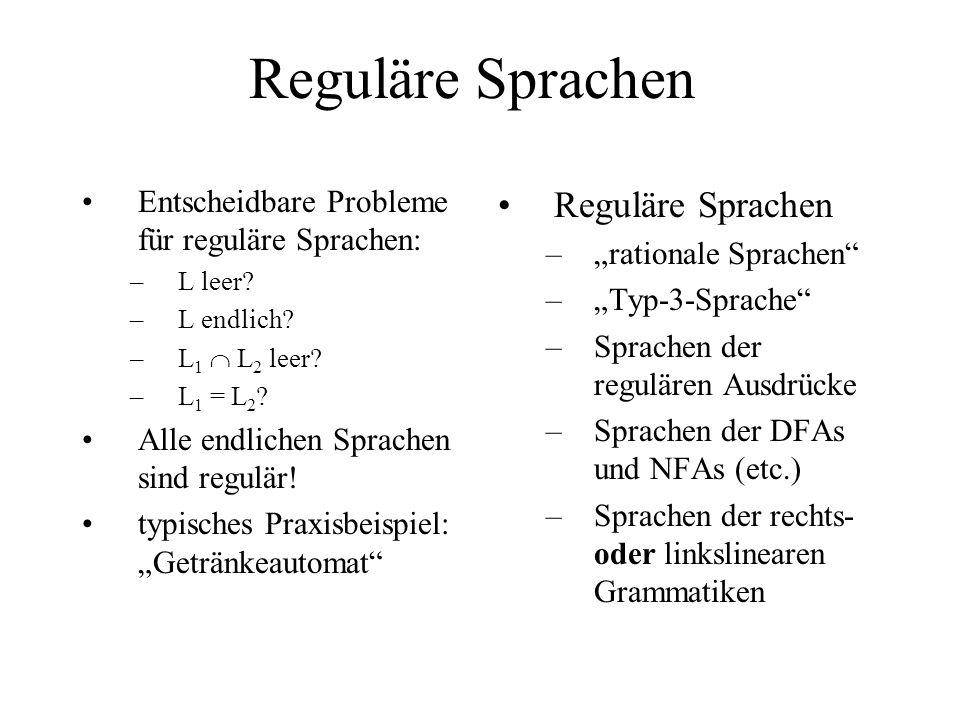 Reguläre Sprachen Reguläre Sprachen