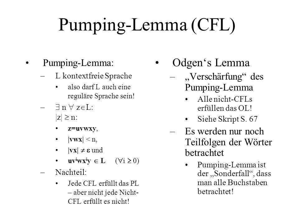 Pumping-Lemma (CFL) Odgen's Lemma Pumping-Lemma: