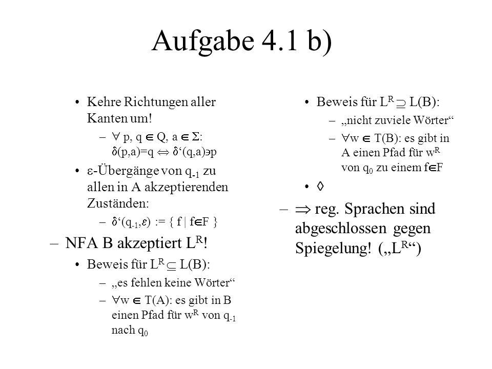 Aufgabe 4.1 b) Kehre Richtungen aller Kanten um!  p, q  Q, a  : (p,a)=q  '(q,a)p.
