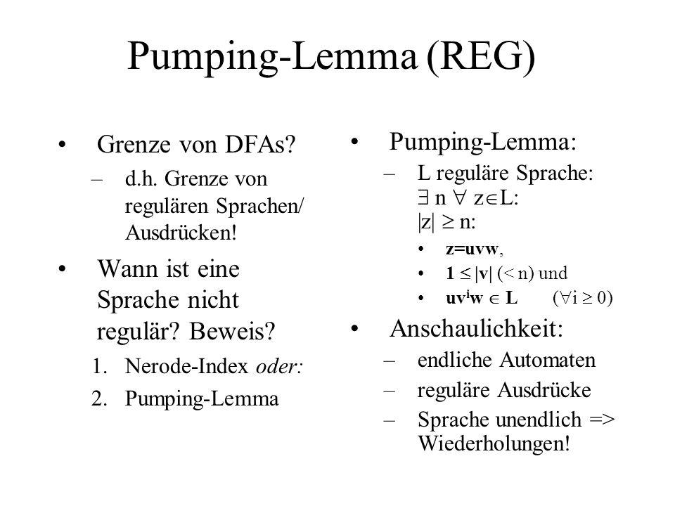 Pumping-Lemma (REG) Grenze von DFAs