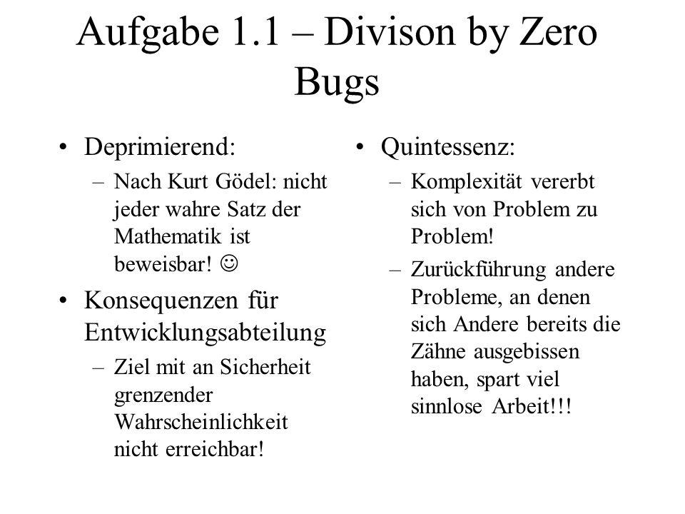 Aufgabe 1.1 – Divison by Zero Bugs