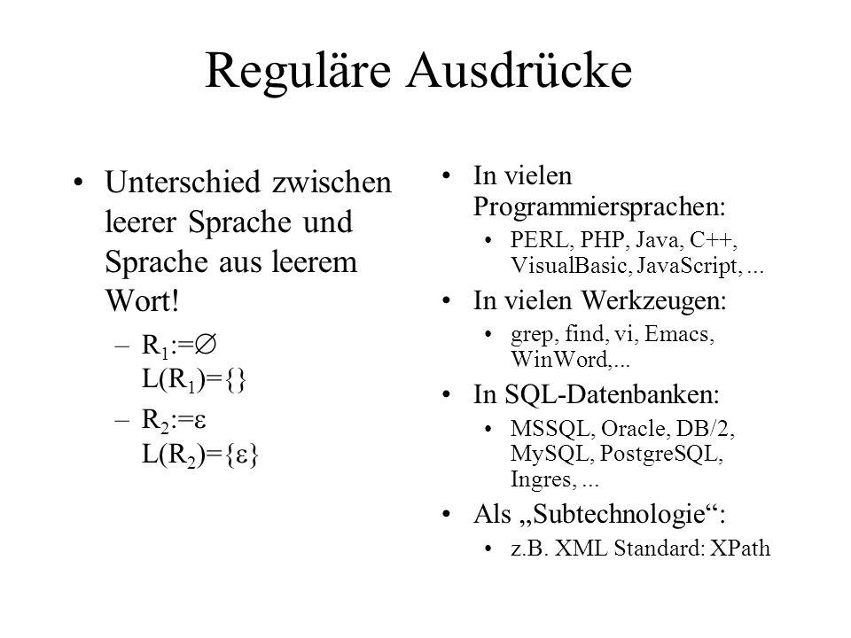 Reguläre Ausdrücke Unterschied zwischen leerer Sprache und Sprache aus leerem Wort! R1:= L(R1)={}