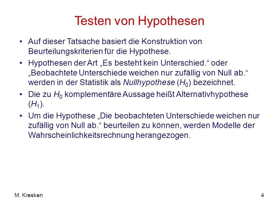 Testen von Hypothesen Auf dieser Tatsache basiert die Konstruktion von Beurteilungskriterien für die Hypothese.