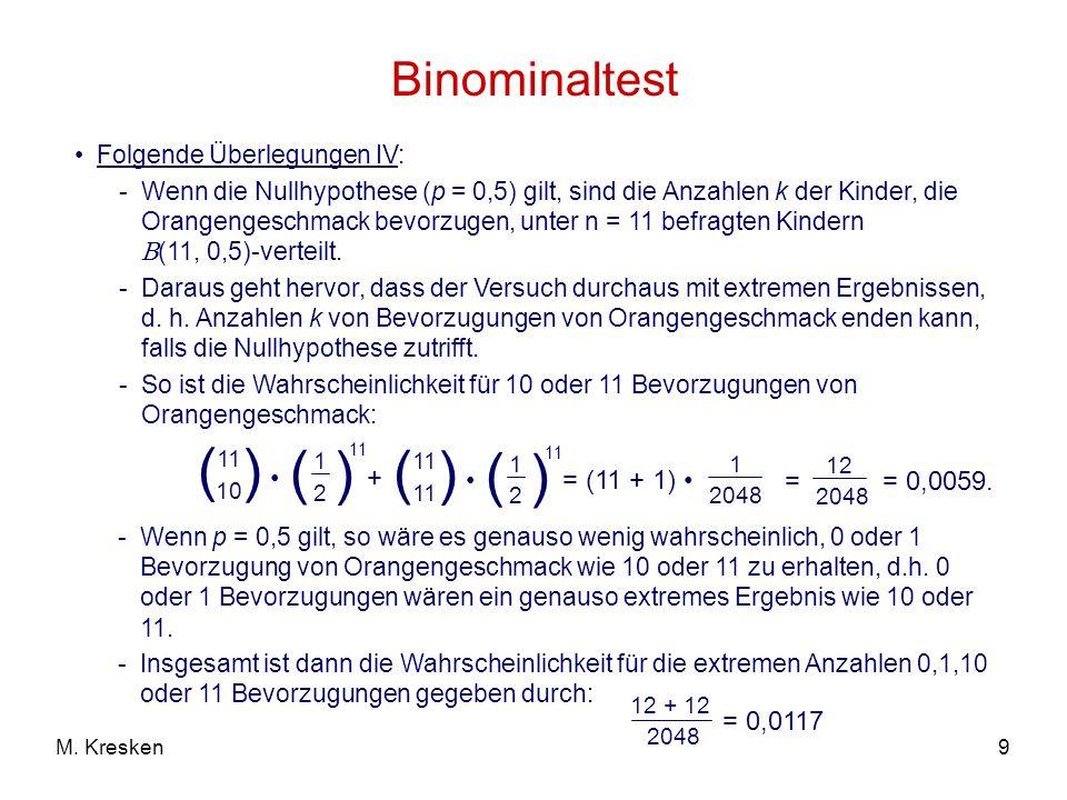 ( ) Binominaltest • + = (11 + 1) • = = 0,0059. = 0,0117