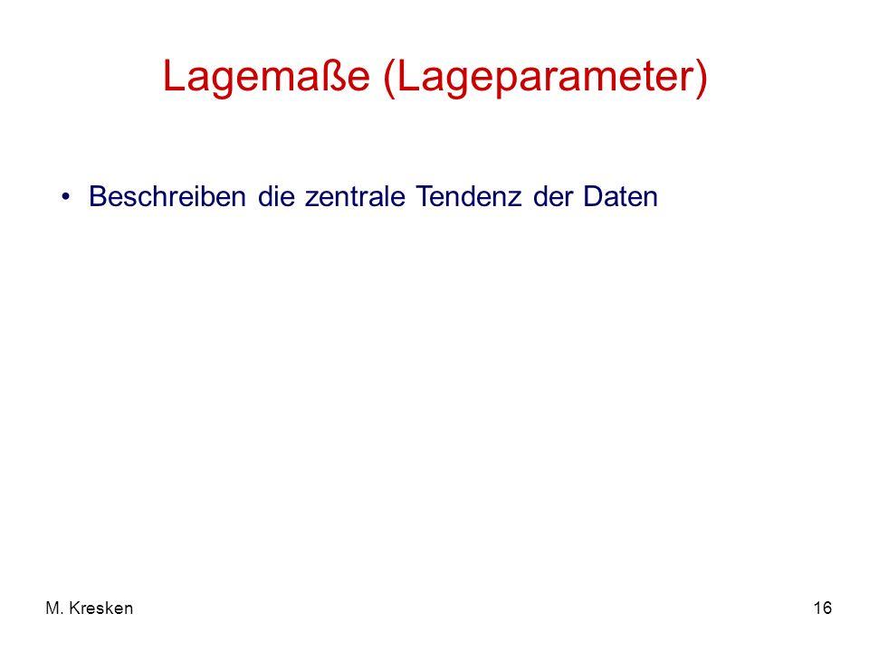 Lagemaße (Lageparameter)