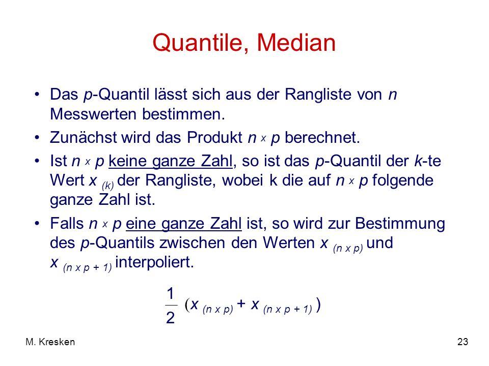 Quantile, MedianDas p-Quantil lässt sich aus der Rangliste von n Messwerten bestimmen. Zunächst wird das Produkt n x p berechnet.