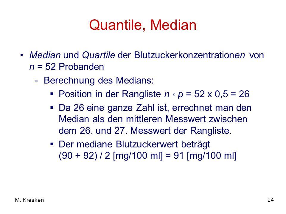 Quantile, Median Median und Quartile der Blutzuckerkonzentrationen von n = 52 Probanden. Berechnung des Medians: