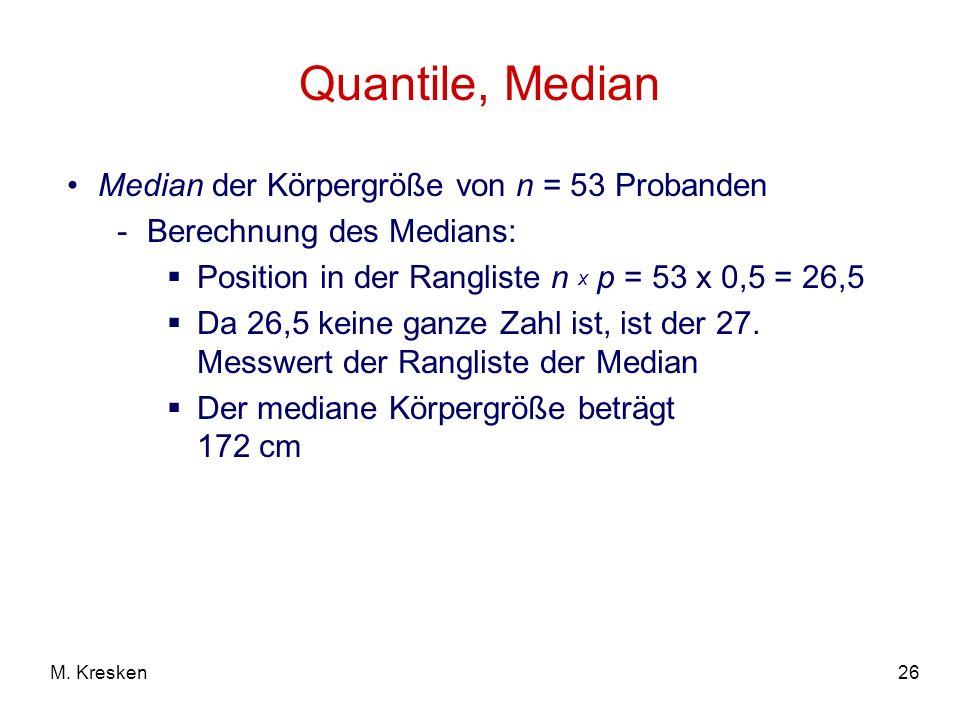 Quantile, Median Median der Körpergröße von n = 53 Probanden