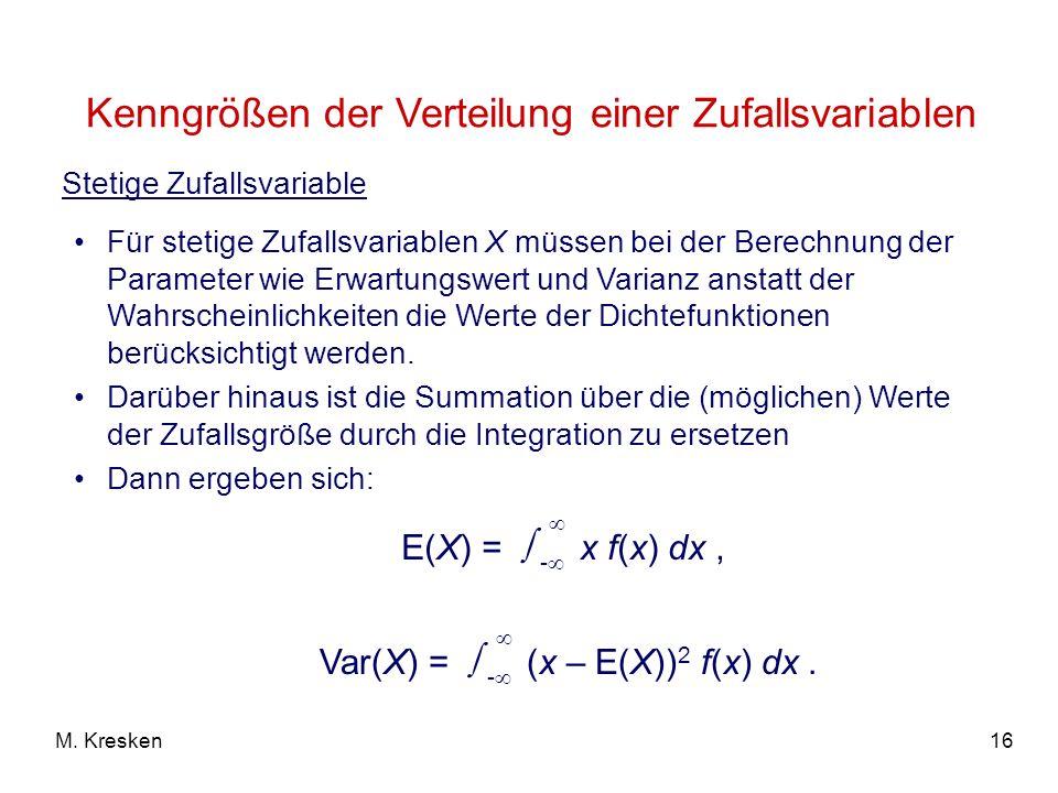 Kenngrößen der Verteilung einer Zufallsvariablen