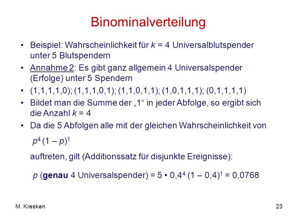 Binominalverteilung Beispiel: Wahrscheinlichkeit für k = 4 Universalblutspender unter 5 Blutspendern.