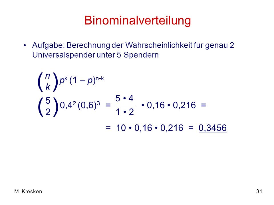 ( ) ( ) Binominalverteilung pk (1 – p)n-k n k 0,42 (0,6)3 5 2 5 • 4