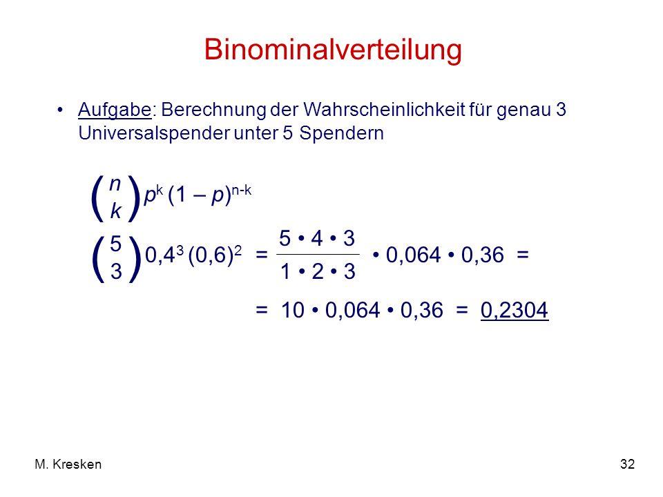 ( ) ( ) Binominalverteilung pk (1 – p)n-k n k 0,43 (0,6)2 5 3