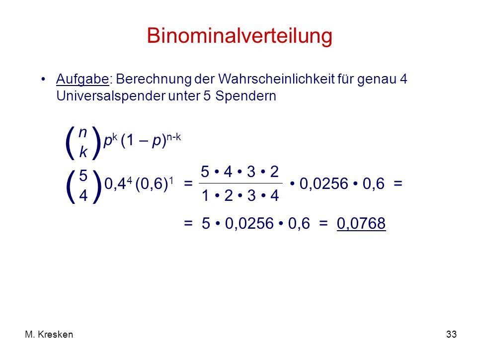 ( ) ( ) Binominalverteilung pk (1 – p)n-k n k 0,44 (0,6)1 5 4