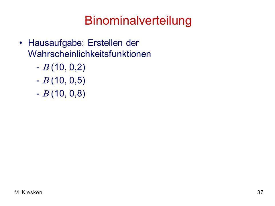 Binominalverteilung Hausaufgabe: Erstellen der Wahrscheinlichkeitsfunktionen.  (10, 0,2)  (10, 0,5)