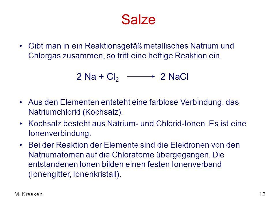 Salze Gibt man in ein Reaktionsgefäß metallisches Natrium und Chlorgas zusammen, so tritt eine heftige Reaktion ein.