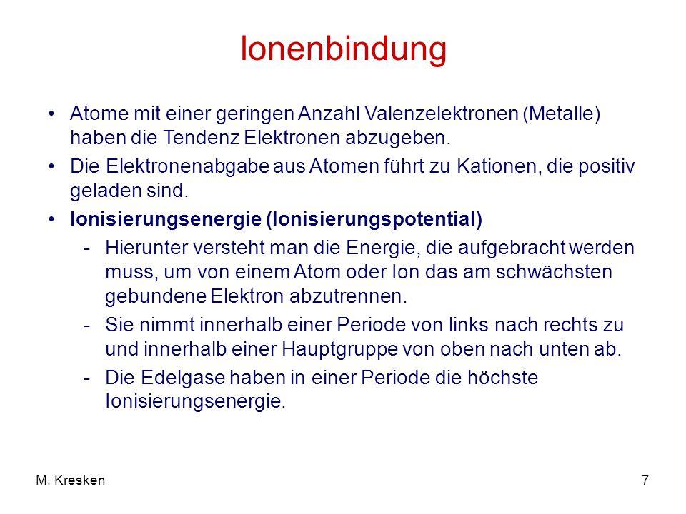 Ionenbindung Atome mit einer geringen Anzahl Valenzelektronen (Metalle) haben die Tendenz Elektronen abzugeben.