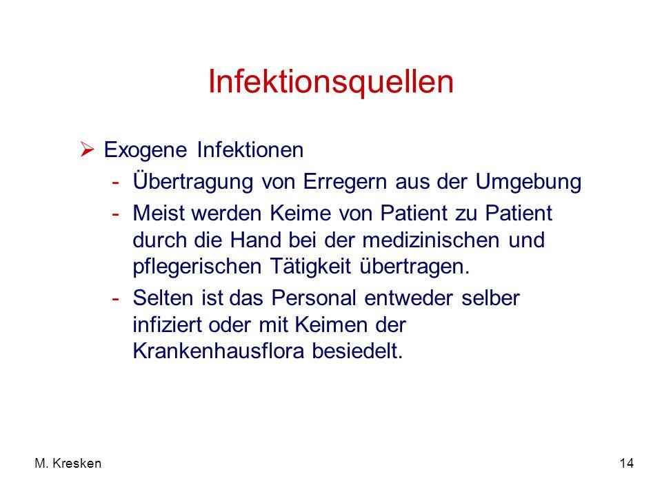 Infektionsquellen Exogene Infektionen