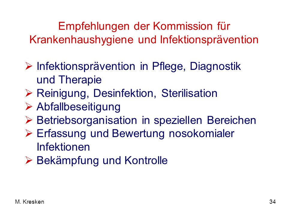 Infektionsprävention in Pflege, Diagnostik und Therapie
