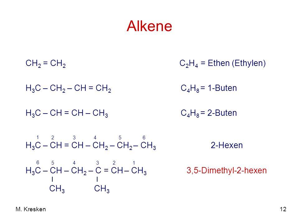 Alkene CH2 = CH2 C2H4 = Ethen (Ethylen) H3C – CH2 – CH = CH2