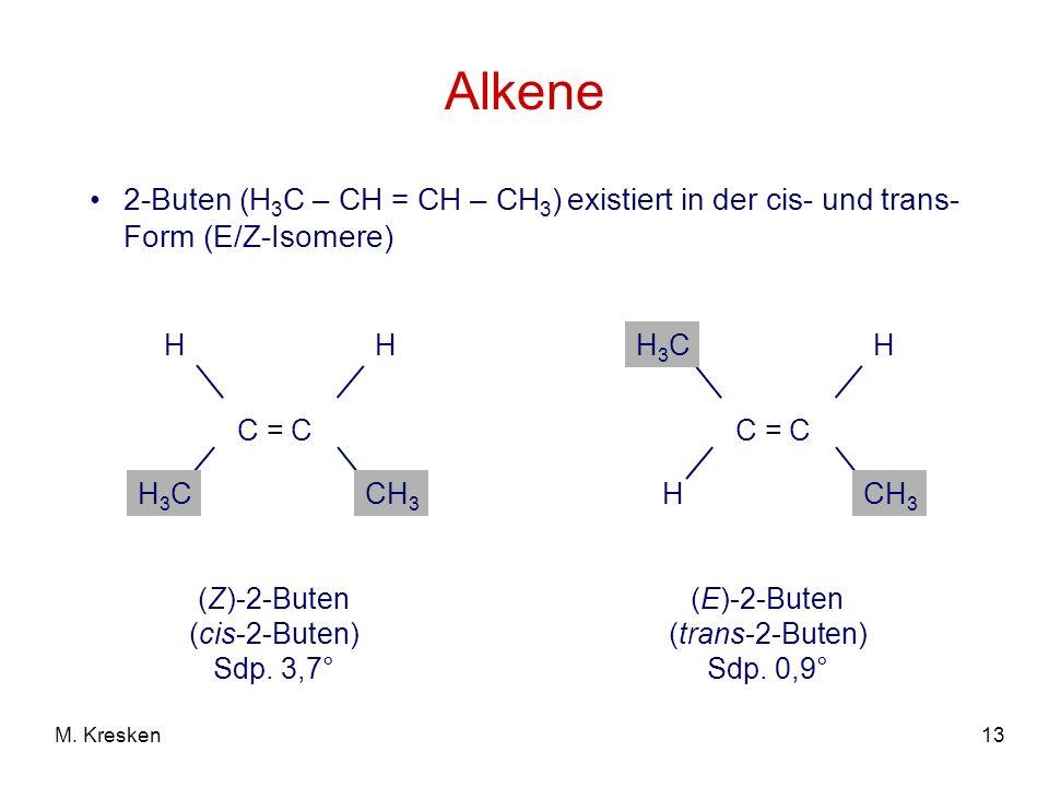 Alkene 2-Buten (H3C – CH = CH – CH3) existiert in der cis- und trans-Form (E/Z-Isomere) C = C. CH3.