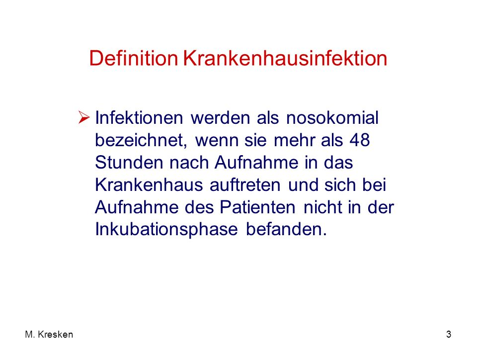 Definition Krankenhausinfektion
