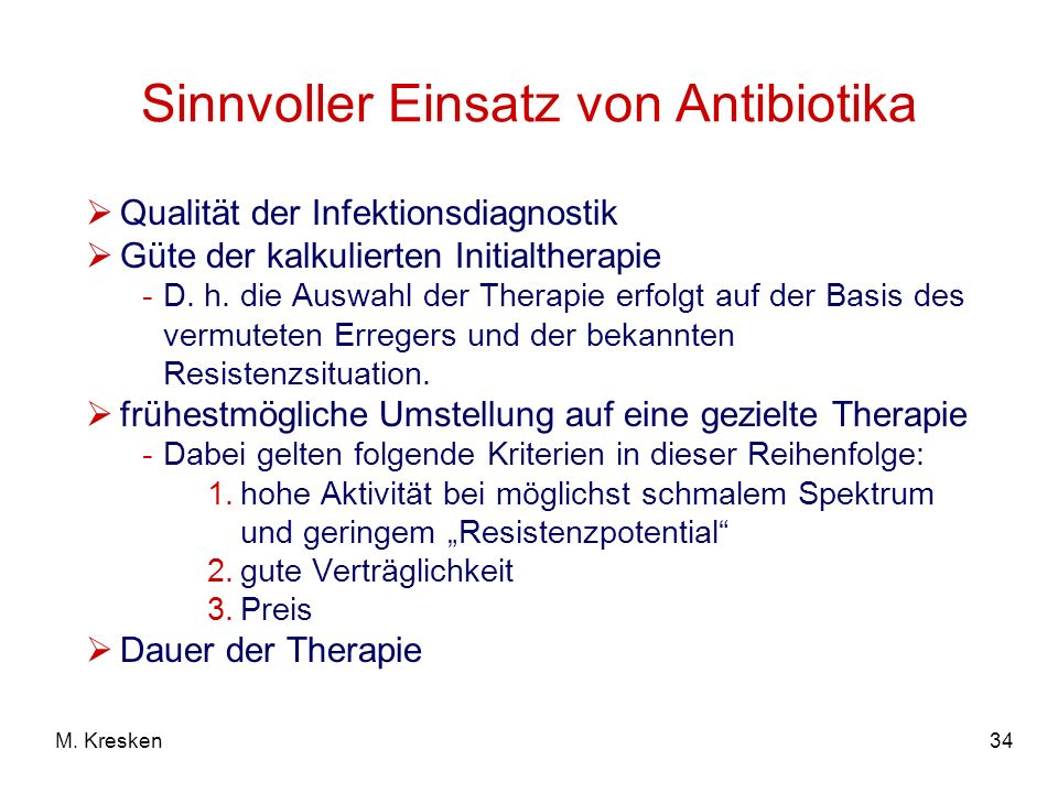 Sinnvoller Einsatz von Antibiotika