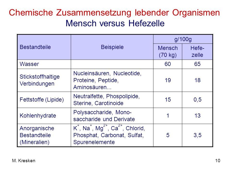Chemische Zusammensetzung lebender Organismen Mensch versus Hefezelle