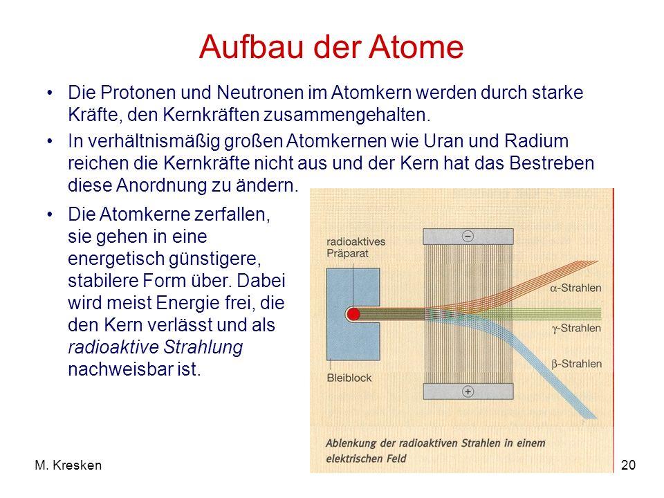 Aufbau der Atome Die Protonen und Neutronen im Atomkern werden durch starke Kräfte, den Kernkräften zusammengehalten.